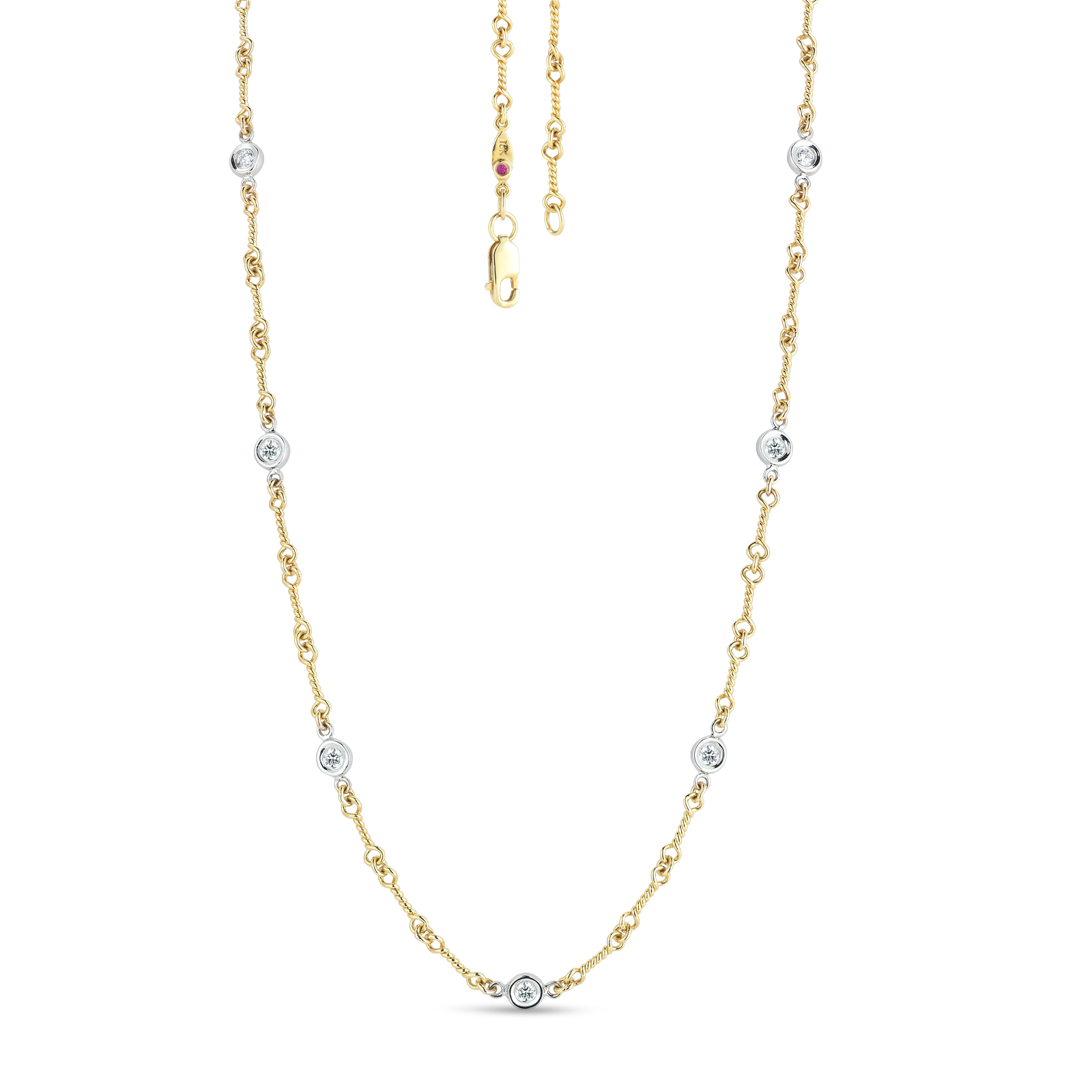 18K Yellow Gold Dogbone 7 Station Necklace With Diamonds