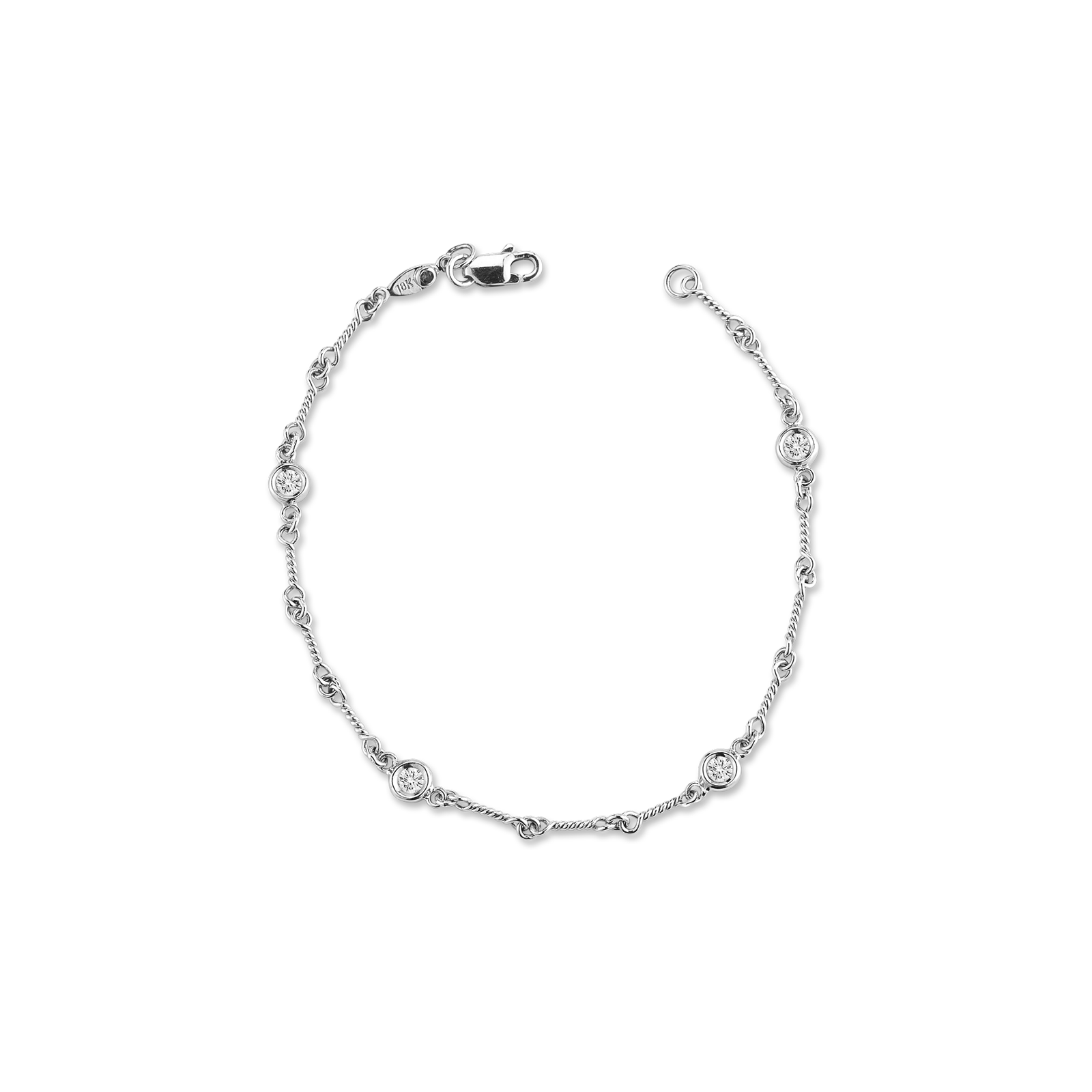 18KT GOLD 4 STATION DIAMOND DOG BONE BRACELET
