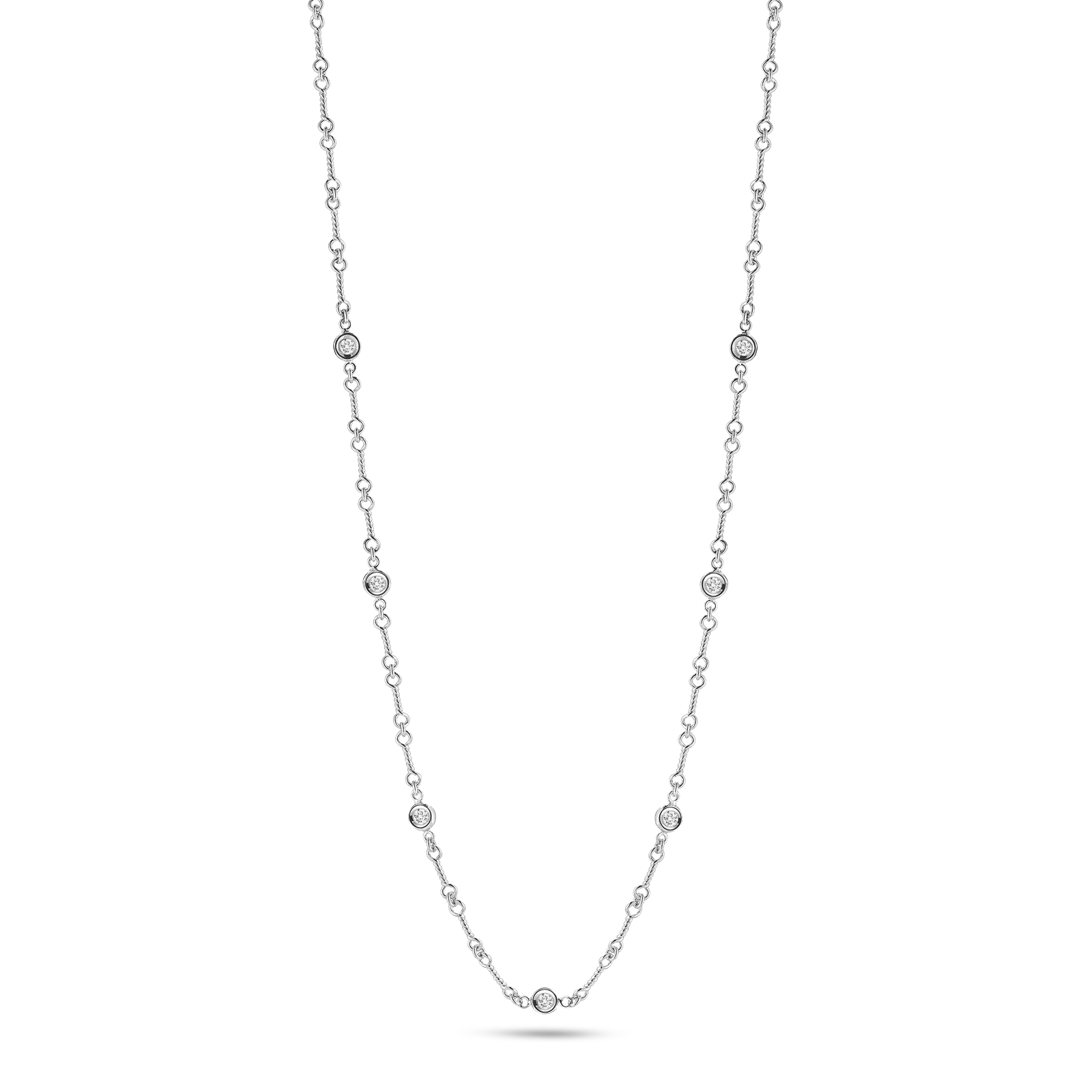 18K White Gold Dogbone 7 Station Necklace With Diamonds