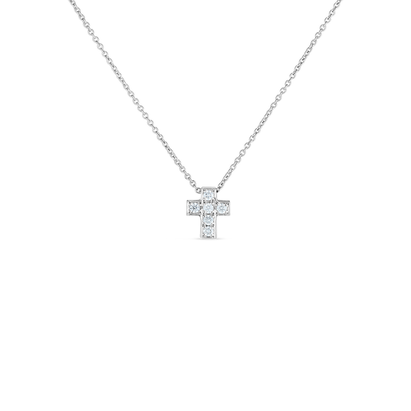 18K White Gold Cross Pendant With Diamonds