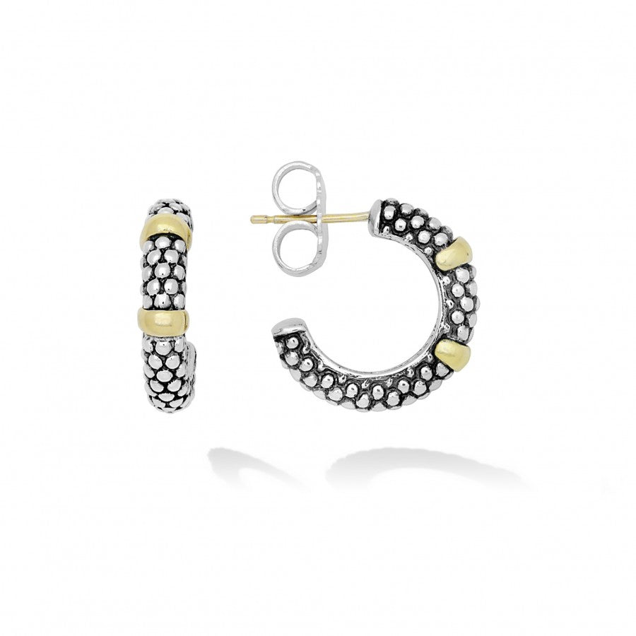 Caviar Forever Hoop Earrings with Gold Stations