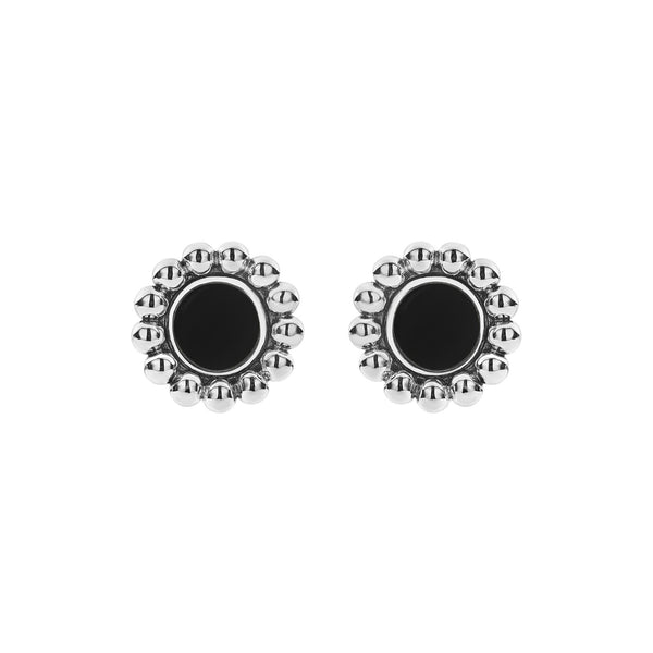 Maya Circle Stud Earrings Black Onyx