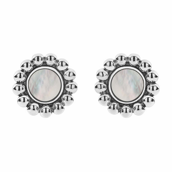 Maya Circle Stud Earrings White Mother of Pearl