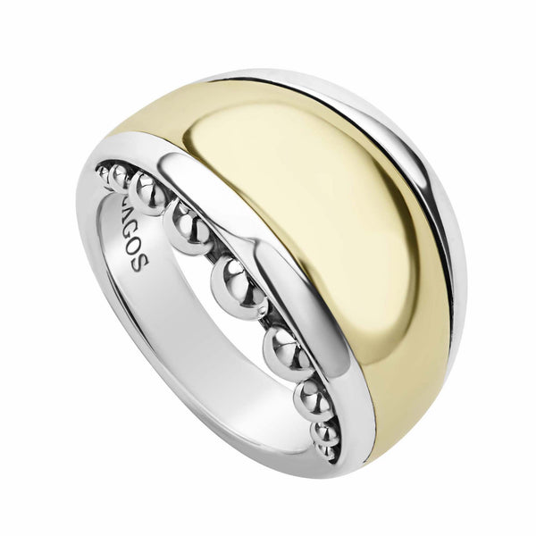 High Bar Gold Caviar Ring