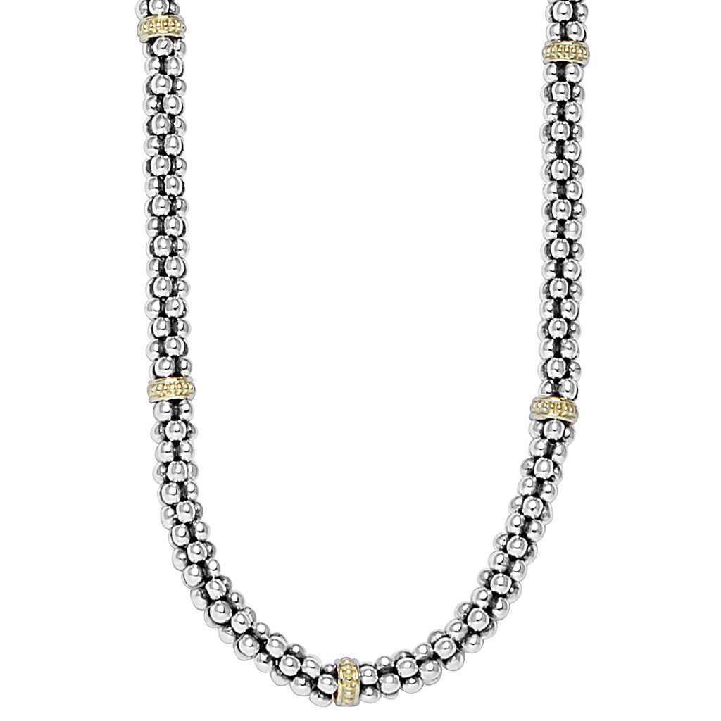 Signature Caviar Beaded Necklace with Gold