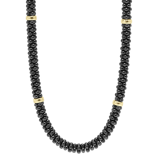 Black & White Caviar Beaded Necklace