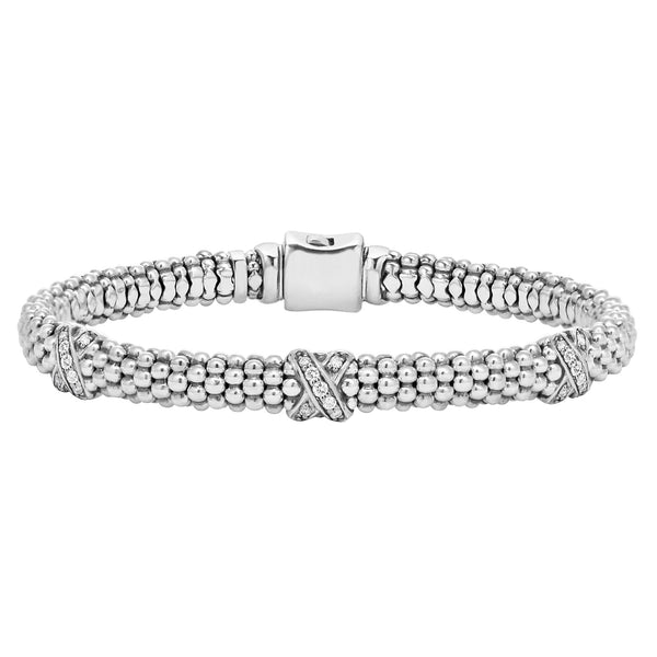 Caviar Lux Three Diamond X Bracelet