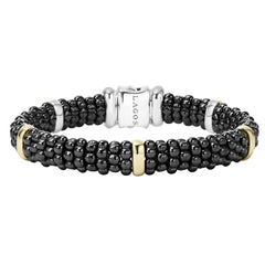 Black Caviar Beaded Bracelet with Gold
