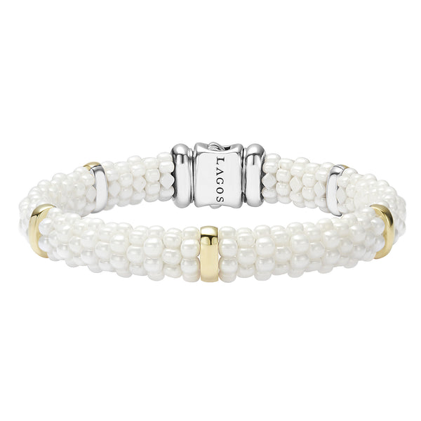 White Caviar Beaded Bracelet with Gold