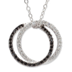 Black and White Diamond Double Circle Necklace 14k White Gold (0.33 ct. tw.)