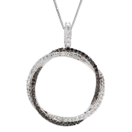 Black and White Diamond Circle Necklace 14k White Gold (0.68 ct. tw.)