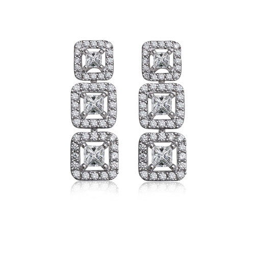 Three Stone Drop Earrings 18k White Gold (1.50 ct. tw.)