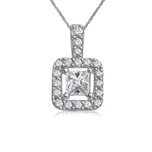 Princess Cut Diamond Necklace 14k White Gold (0.40 ct. tw.)