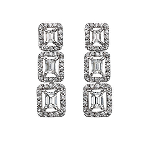 Three Stone Drop Earrings 18k White Gold (1.13 ct. tw.)