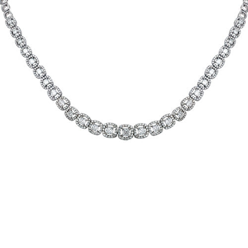 Princess Cut Diamond Necklace 18k White Gold (5.28 ct. tw.)