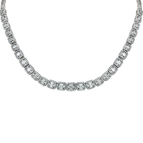 Princess Cut Diamond Necklace 18k White Gold (5.86 ct. tw.)
