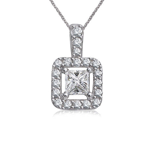 Princess Cut Diamond Necklace 14k White Gold (0.47 ct. tw.)