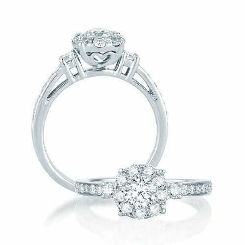 Round Diamond Ring With Halo in 14k White Gold (1 ct. tw.)