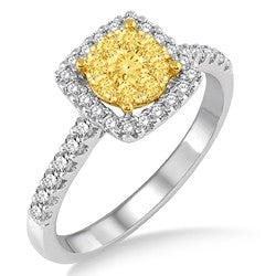 .75 CTW Yellow and White Diamond Cluster Ring