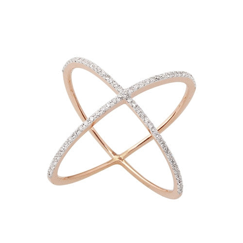 Rose Gold Diamond X Ring