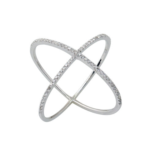 Diamond X Ring 14k White Gold