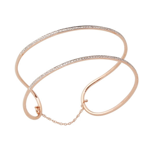 Double Row Diamond Bangle 14k Rose Gold