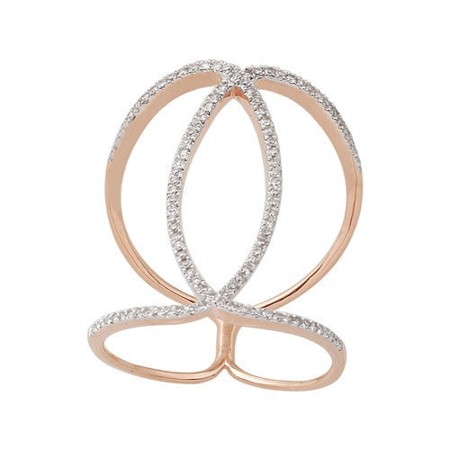 Free Form Diamond Ring 14k Rose Gold