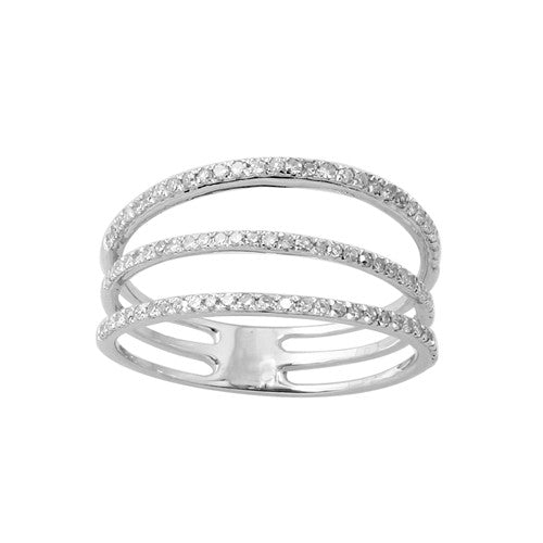 Three Row Diamond Band 14k White Gold