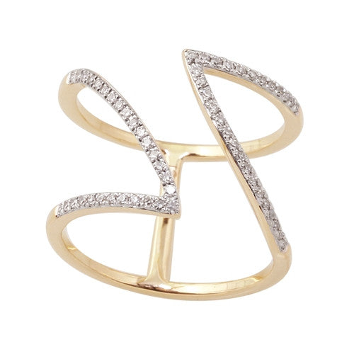 Free Form Diamond Ring in 14k Yellow Gold