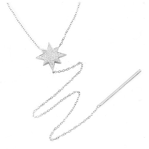 Diamond Star Drop Necklace 14k White Gold
