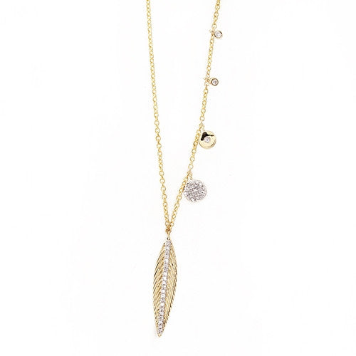 Diamond Feather Necklace 14k Yellow Gold