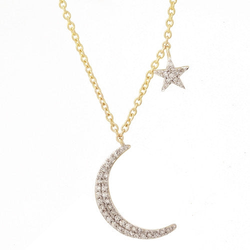 Diamond Moon and Star Necklace 14k Yellow Gold