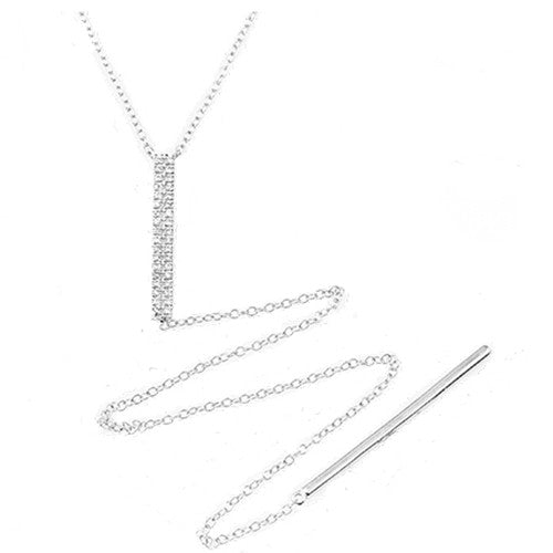 Diamond Bar Drop Necklace 14k White Gold