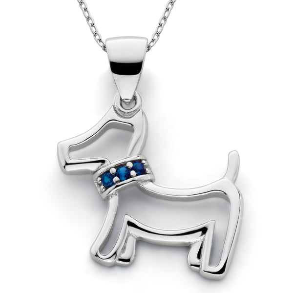 Lab Created Sapphire Dog Pendant Sterling Silver
