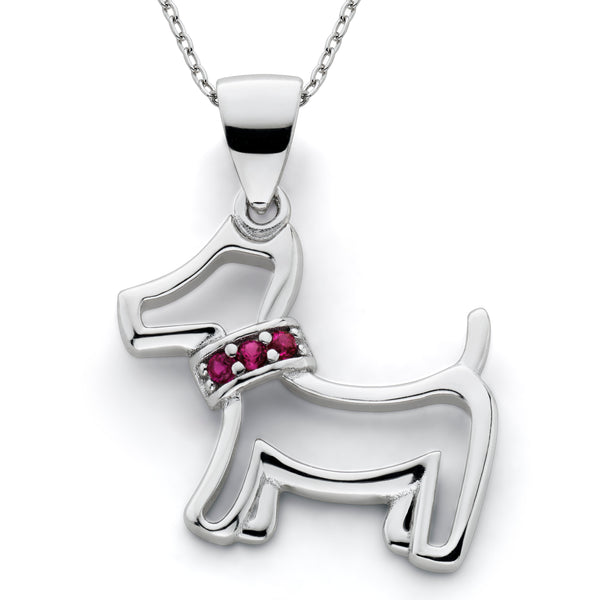 Lab Created Ruby Dog Pendant Sterling Silver