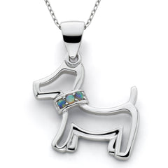 Lab Created Opal Dog Pendant Sterling Silver