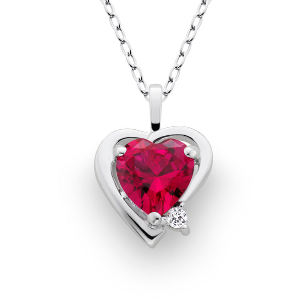 Lab Created Ruby Heart Pendant Sterling Silver
