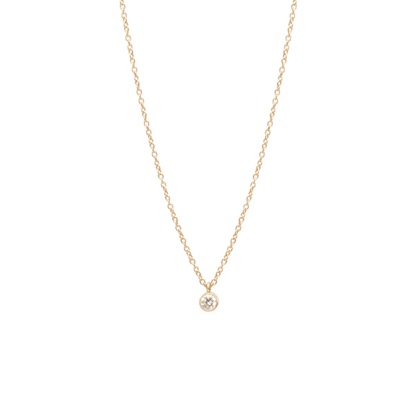 14K SINGLE LARGE DIAMOND PENDANT NECKLACE