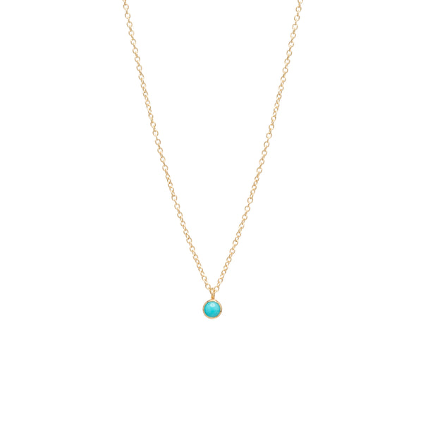 14K SINGLE TURQUOISE CHOKER PENDANT NECKLACE