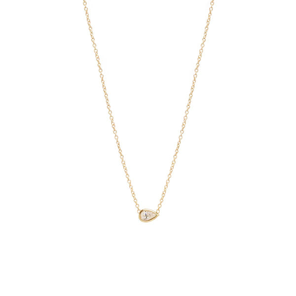 14K HORIZONTAL PEAR SHAPED DIAMOND NECKLACE