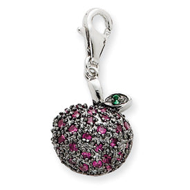 Antiqued Glass Apple Charm