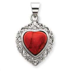 Red Stone Heart Charm