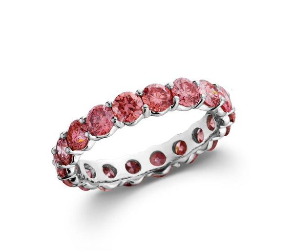 14K White Gold 2.50CTTW Pink Lab Grown Diamond Eternity Band