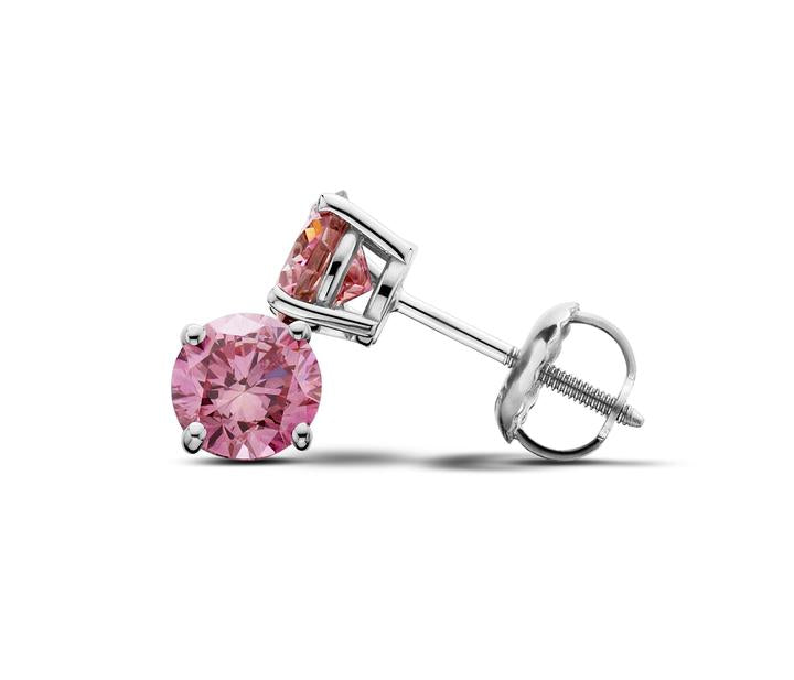 14Kt White Gold Pink Lab-Grown Diamond Stud Earrings