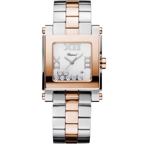 HAPPY SPORT SQUARE MEDIUM WATCH18K ROSE GOLD, STAINLESS STEEL AND DIAMONDS
