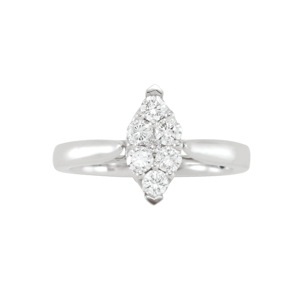 14KW MARQUISE DIAMOND CLUSTER RING