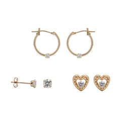 10K Yellow Gold 3 Piece Cubic Zircoina Earring Set