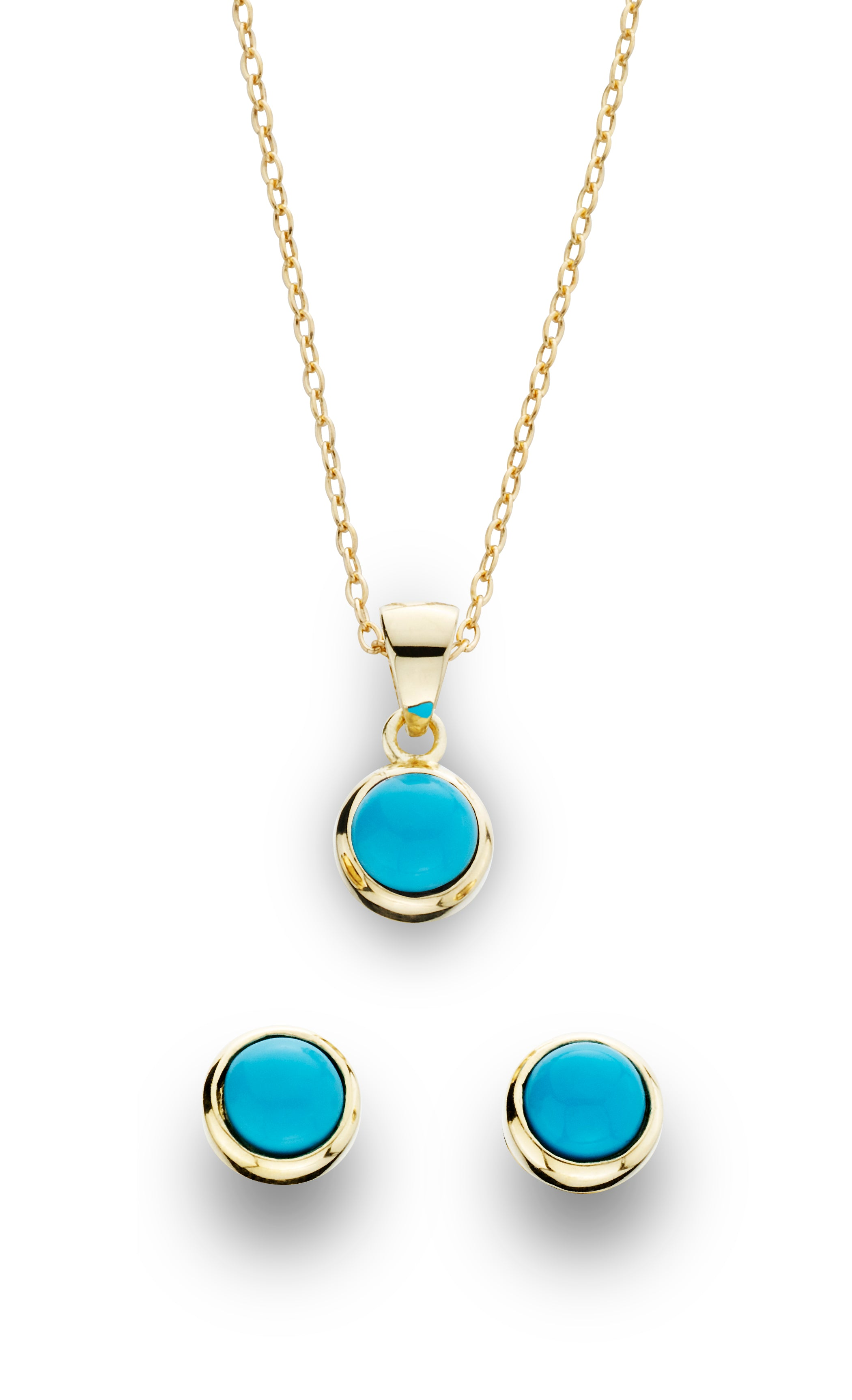 2 Piece Turquoise Earring and Pendant Set