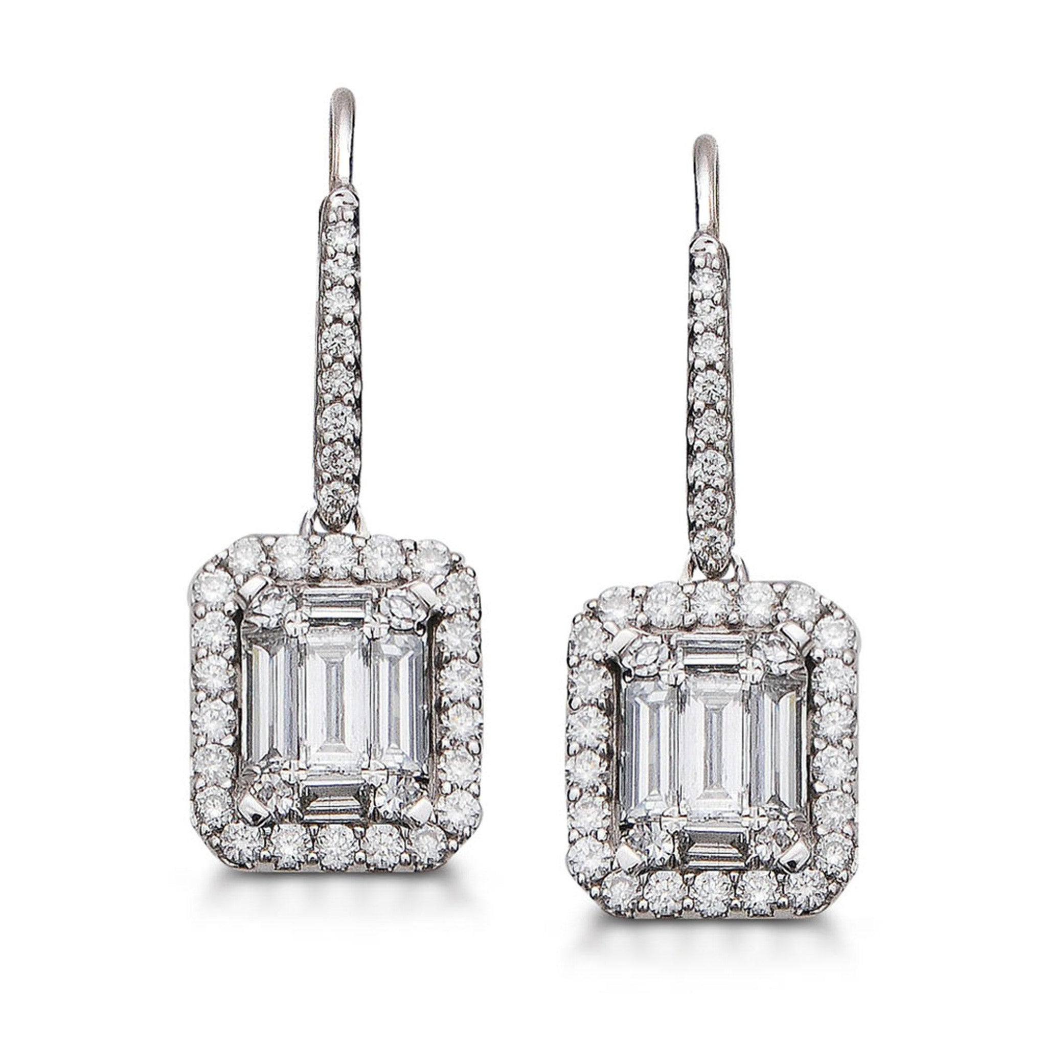 Diamond Halo Drop Earrings 14k White Gold (1 ct. tw.)