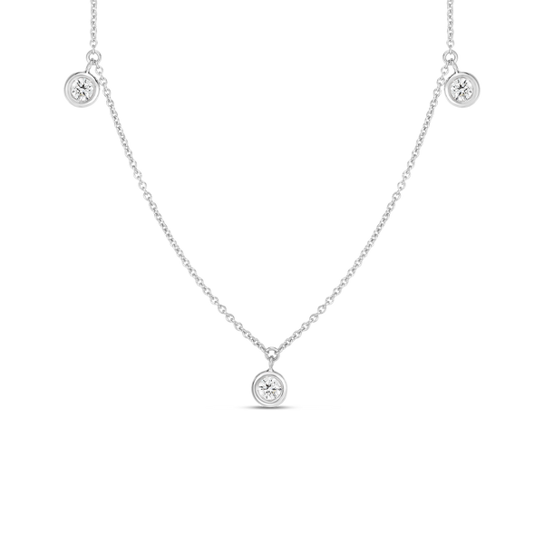 18K White Gold Three Diamond Drop Station Necklace